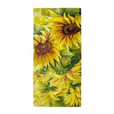 Sunflowers Oil Painting Beach Towel