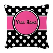 Pink Black Dot Personalized Woven Throw Pillow