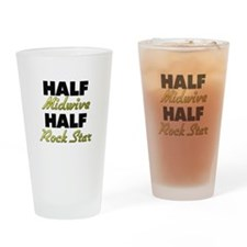 Half Midwive Half Rock Star Drinking Glass