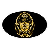 Fleur de lis Crown Crest (gold) Oval Decal