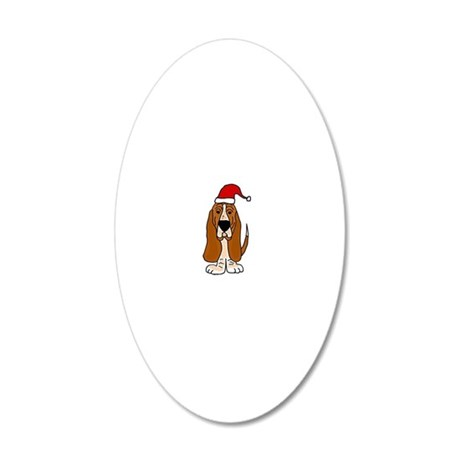 Funy Basset Hound Christmas  20x12 Oval Wall Decal