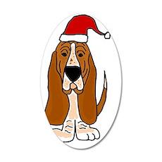 Funy Basset Hound Christmas  35x21 Oval Wall Decal
