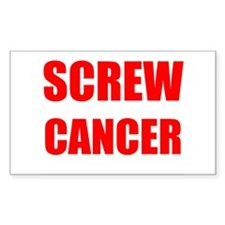 Screw Cancer on a Rectangle Decal