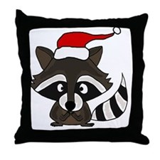 Funny Raccoon Christmas Art Throw Pillow