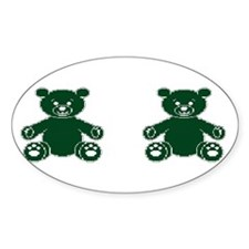 2 DK GREEN TEDDY BEARS Oval Decal