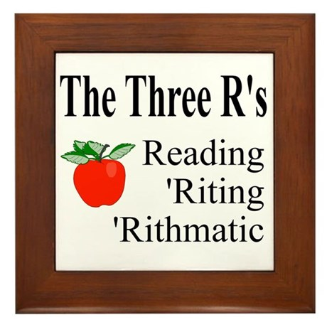 The Three R's Framed Tile