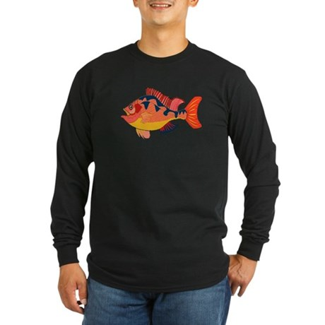 Colorful Fish Long Sleeve Dark T-Shirt