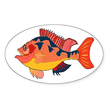 Colorful Fish Oval Sticker