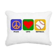 Peace Love Softball Rectangular Canvas Pillow