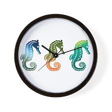 Tropical Seahorse Parade Wall Clock