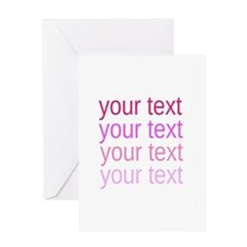 shades of pink text Greeting Cards