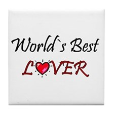 ...World`s Best Lover... Tile Coaster