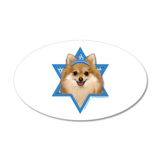 Hanukkah Star of David - Pom 20x12 Oval Wall Decal