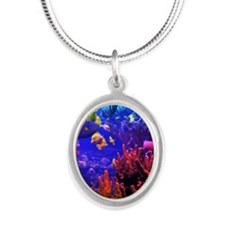Neon Fish Silver Oval Necklace