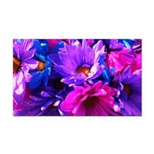 Pink & Purple Flowers Rectangle Car Magnet