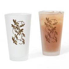 Golden Dragonfly Frenzy Drinking Glass
