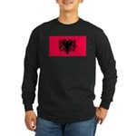 Albania Blank Flag Long Sleeve Black T-Shirt