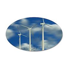 Wind Turbine Blue Clouds 22x14 Oval Wall Peel
