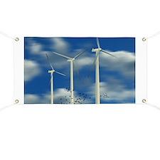 Wind Turbine Blue Clouds Banner
