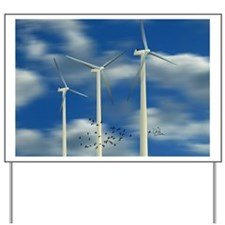 Wind Turbine Blue Clouds Yard Sign