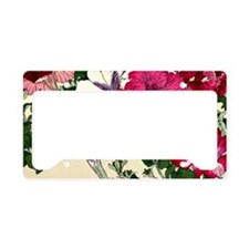 Vintage Pink Floral Design License Plate Holder