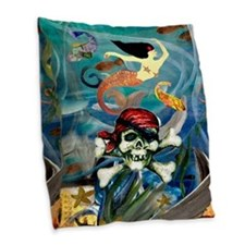 Mermaid pirate under the sea Burlap Throw Pillow