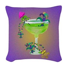 mardi gras margarita Woven Throw Pillow