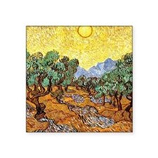 "Van Gogh - Olive Trees with Square Sticker 3"" x 3"""