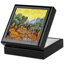 Van Gogh - Olive Trees with Yellow Sk Keepsake Box