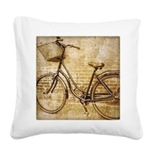 vintage Bicycle fashion art Square Canvas Pillow