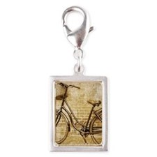 vintage Bicycle fashion art Silver Portrait Charm