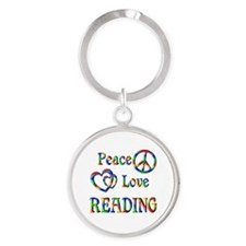 Peace Love READING Round Keychain