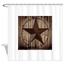 barnwood texas star Shower Curtain