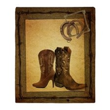 barnwood cowboy boots horseshoe Throw Blanket