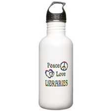 Peace Love LIBRARIES Water Bottle