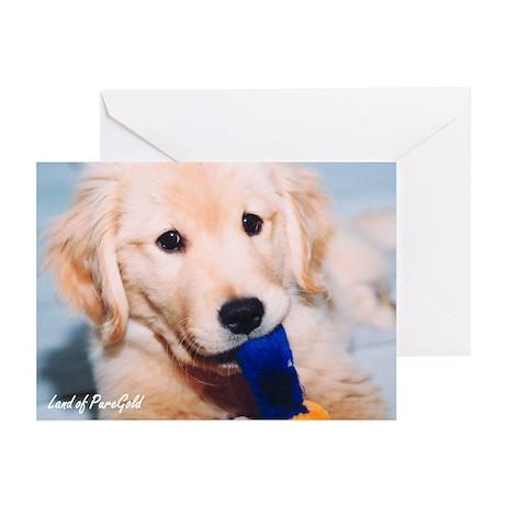 "Golden Retriever ""A Pensive Puppy & Tug"" Greetings"
