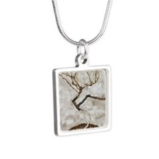 Small Tree in Late Autumn  Silver Square Necklace