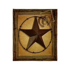 texas star horseshoe western Throw Blanket