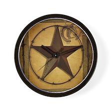 texas star horseshoe western Wall Clock