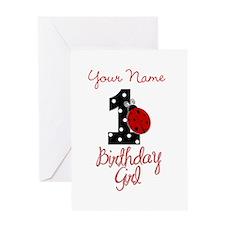 1 Ladybug Birthday Girl - Your Name Greeting Cards