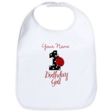 1 Ladybug Birthday Girl - Your Name Bib