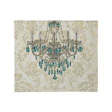 blue chandelier damask Throw Blanket