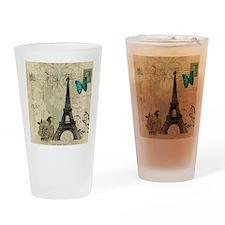 paris eiffel tower butterfly damask Drinking Glass