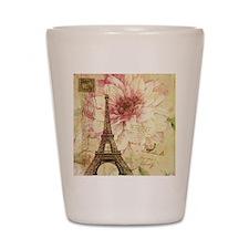 floral paris eiffel tower postmark Shot Glass