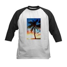 Palm Tree Sunset Stamp Baseball Jersey