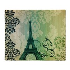 vintage paris eiffel tower damask Throw Blanket