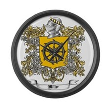 Miller Family Crest 3 Large Wall Clock