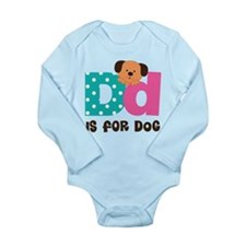 Custom Alphabet Letter D Long Sleeve Infant Bodysu