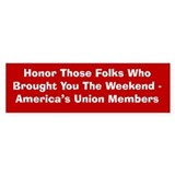 Honor Unions Bumper Bumper Sticker