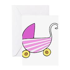 Girl Baby Stroller Greeting Cards